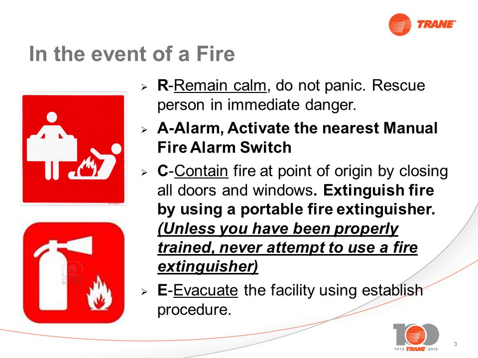 3 In the event of a Fire R-Remain calm, do not panic.