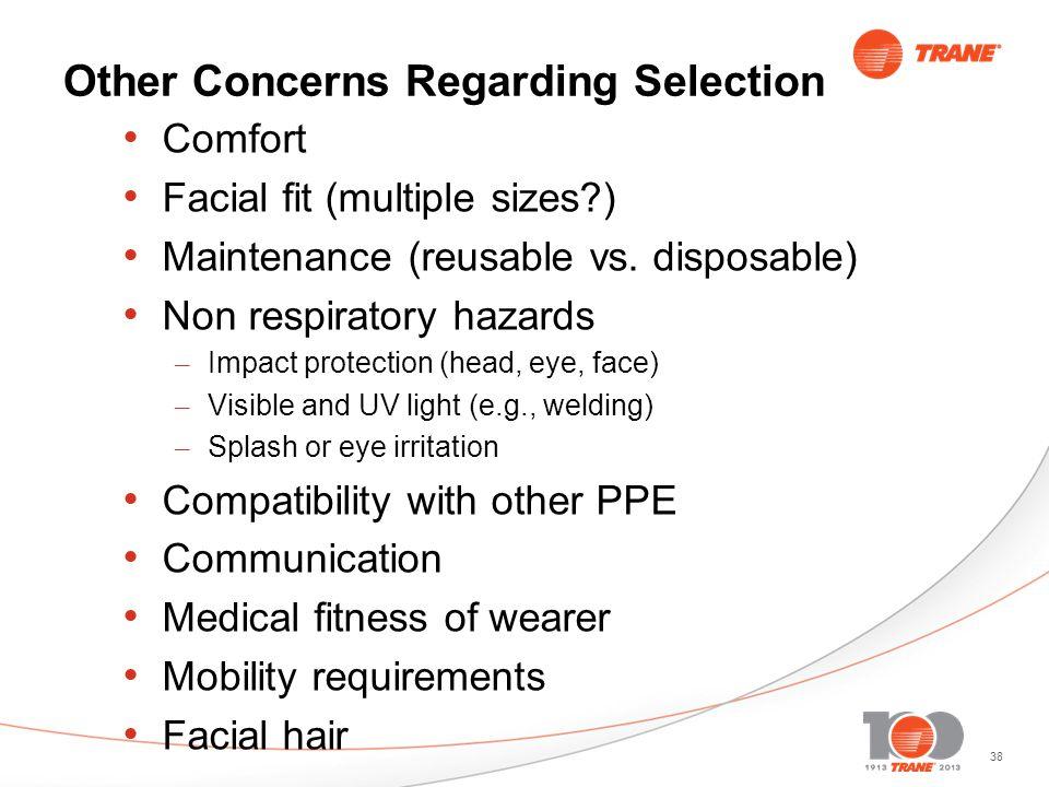 38 Other Concerns Regarding Selection Comfort Facial fit (multiple sizes?) Maintenance (reusable vs.