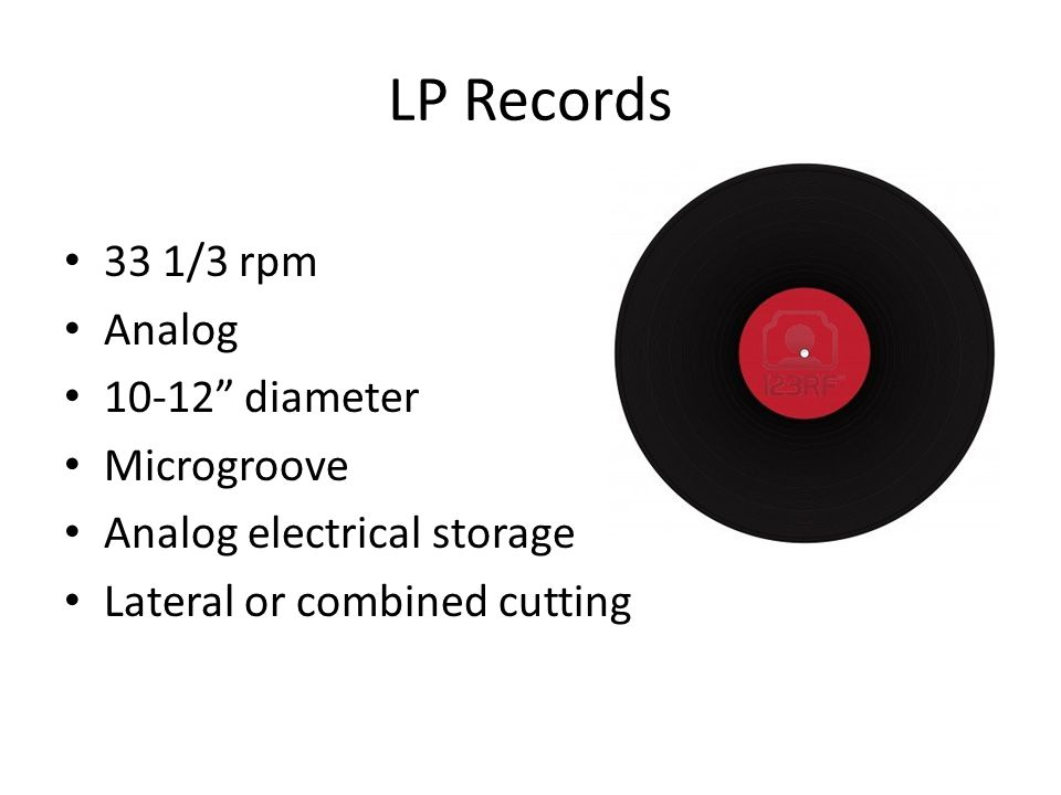 LP Records 33 1/3 rpm Analog diameter Microgroove Analog electrical storage Lateral or combined cutting