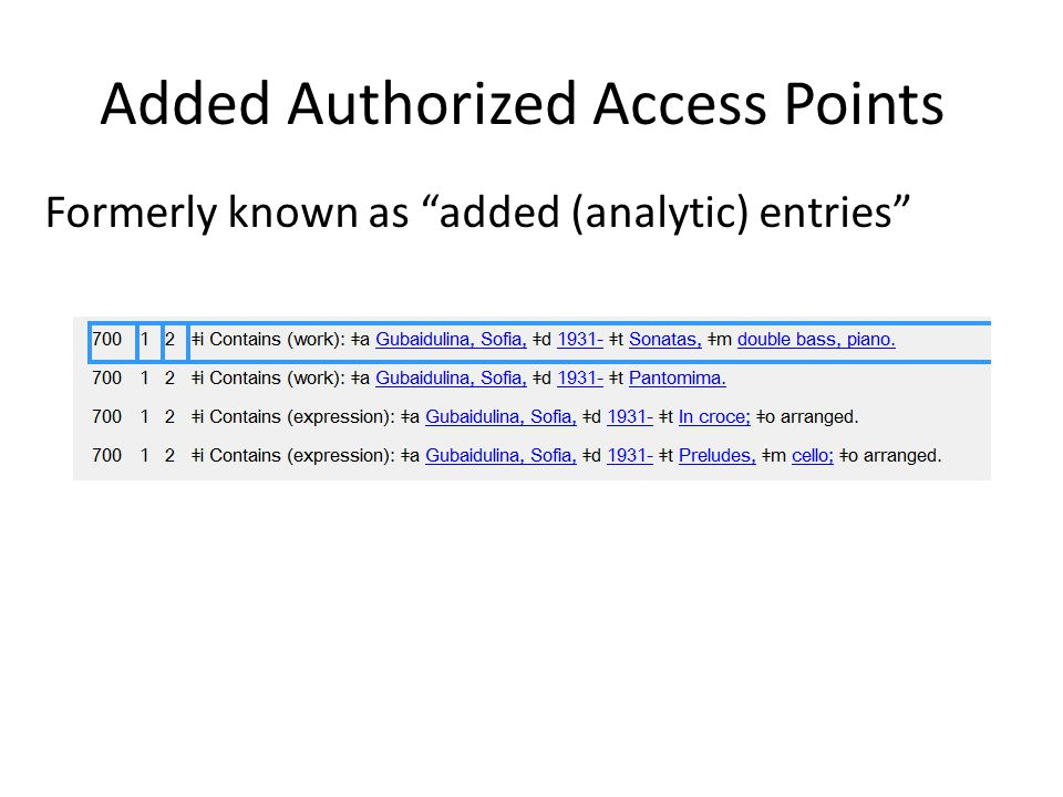 Added Authorized Access Points Formerly known as added (analytic) entries