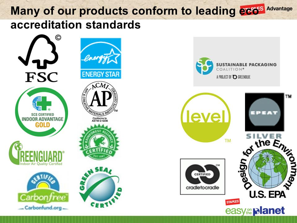 Many of our products conform to leading eco accreditation standards