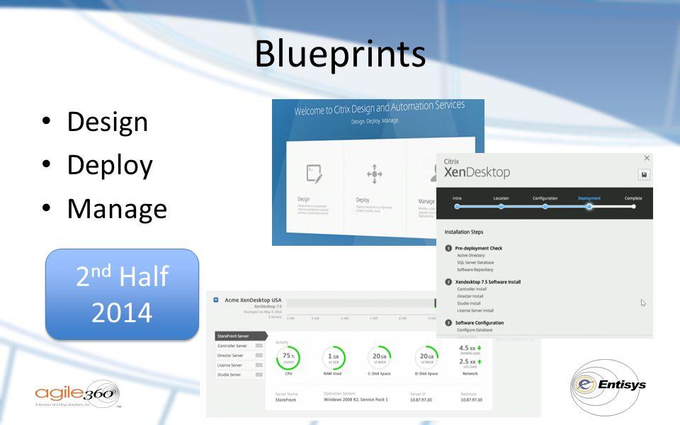 Blueprints Design Deploy Manage 2 nd Half 2014