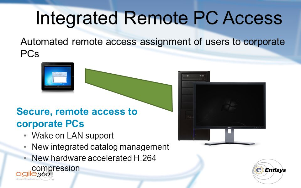 Integrated Remote PC Access Automated remote access assignment of users to corporate PCs Secure, remote access to corporate PCs Wake on LAN support New integrated catalog management New hardware accelerated H.264 compression