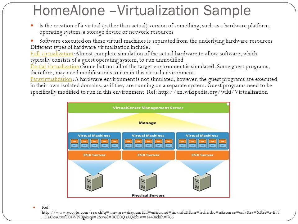 HomeAlone –Virtualization Sample Ref: http://www.google.com/search?q=vmware+diagram&hl=en&prmd=imvnsfd&tbm=isch&tbo=u&source=univ&sa=X&ei=avBvT _HeCoa6twfT0aWNBg&sqi=2&ved=0CE0QsAQ&biw=1440&bih=766 Is the creation of a virtual (rather than actual) version of something, such as a hardware platform, operating system, a storage device or network resources Software executed on these virtual machines is separated from the underlying hardware resources Different types of hardware virtualization include: Full virtualizationFull virtualization: Almost complete simulation of the actual hardware to allow software, which typically consists of a guest operating system, to run unmodified Partial virtualizationPartial virtualization: Some but not all of the target environment is simulated.