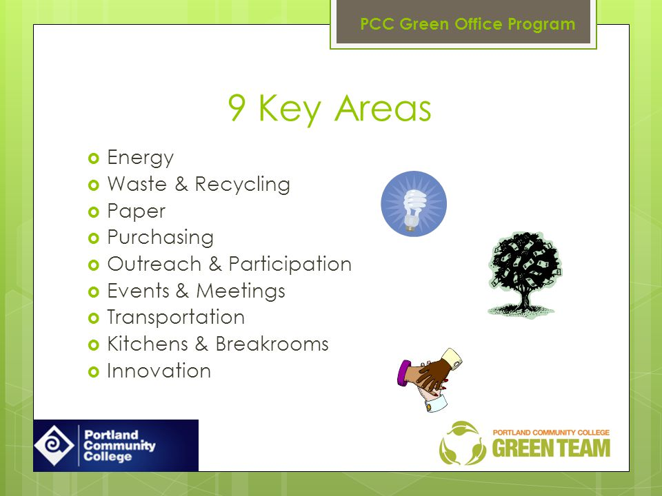 9 Key Areas Energy Waste & Recycling Paper Purchasing Outreach & Participation Events & Meetings Transportation Kitchens & Breakrooms Innovation PCC G