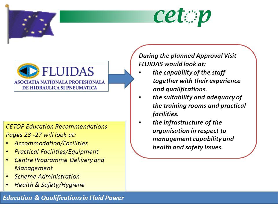 During the planned Approval Visit FLUIDAS would look at: the capability of the staff together with their experience and qualifications.