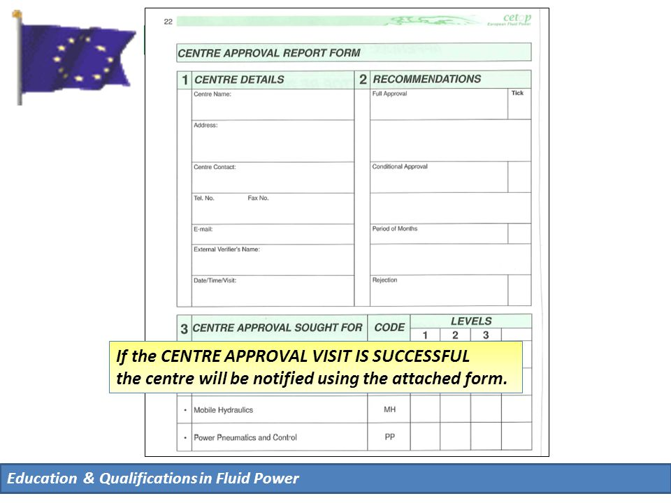 Education & Qualifications in Fluid Power If the CENTRE APPROVAL VISIT IS SUCCESSFUL the centre will be notified using the attached form.