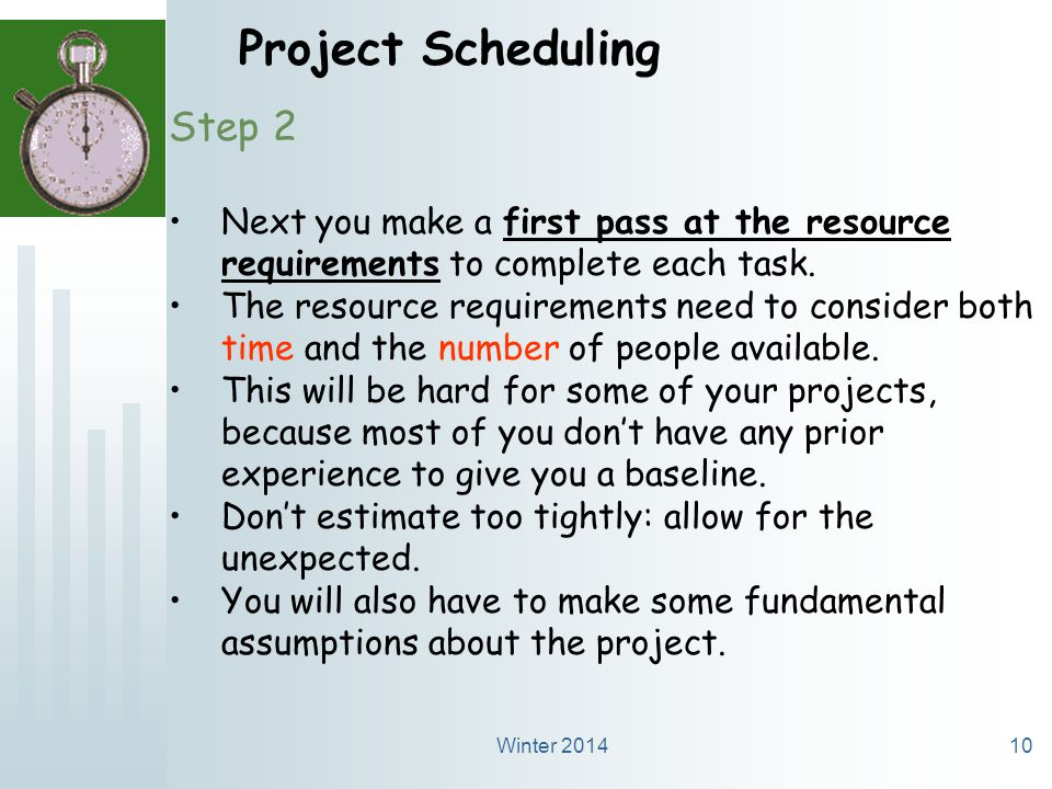 Winter 201410 Project Scheduling Step 2 Next you make a first pass at the resource requirements to complete each task.