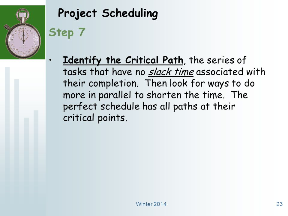 Winter 201423 Project Scheduling Step 7 Identify the Critical Path, the series of tasks that have no slack time associated with their completion.