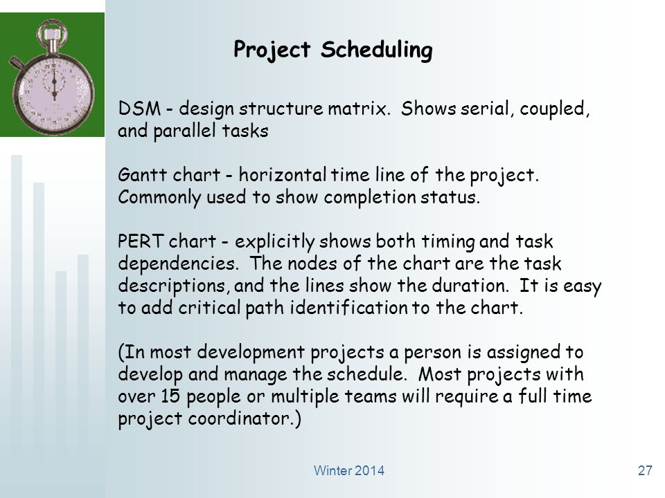Winter 201427 Project Scheduling DSM - design structure matrix.