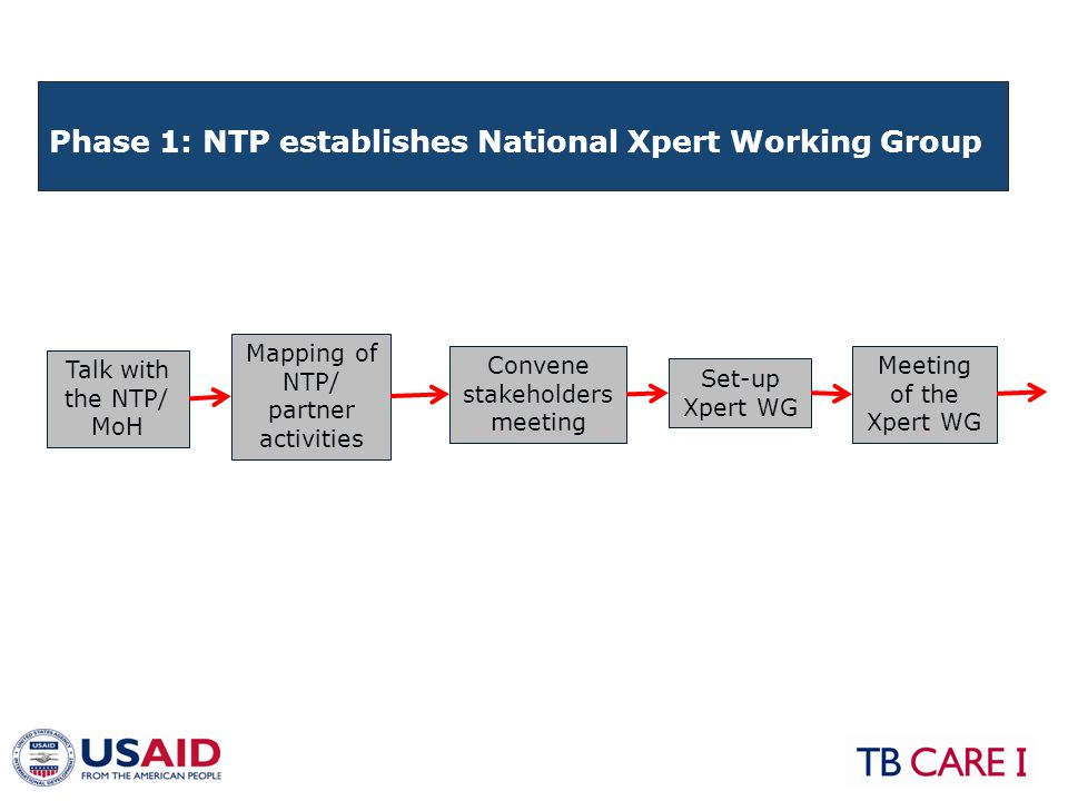 ActivitiesExpected outcomes -Talk with the NTP/MoH -Mapping of NTP/partner activities -Convene stakeholders meeting -Set-up an Xpert working group (important to have representation of program managers and clinicians (TB, pediatricians, HIV) -Arrange for an Xpert WG meeting -Planning & coordination body established - Commitment to start using Xpert,based on understanding of program and cost implications Phase 1: NTP establishes National Xpert Working Group