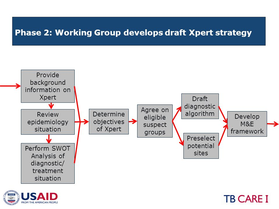 Agree on eligible suspect groups Draft diagnostic algorithm Provide background information on Xpert Determine objectives of Xpert Review epidemiology situation Perform SWOT Analysis of diagnostic/ treatment situation Develop M&E framework Preselect potential sites Phase 2: Working Group develops draft Xpert strategy