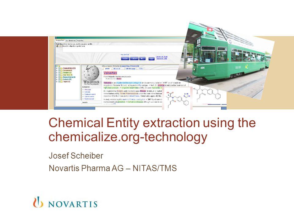 Chemical Entity extraction using the chemicalize.org-technology Josef Scheiber Novartis Pharma AG – NITAS/TMS