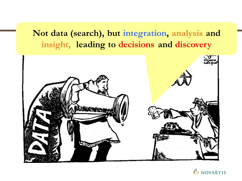 Not data (search), but integration, analysis and insight, leading to decisions and discovery
