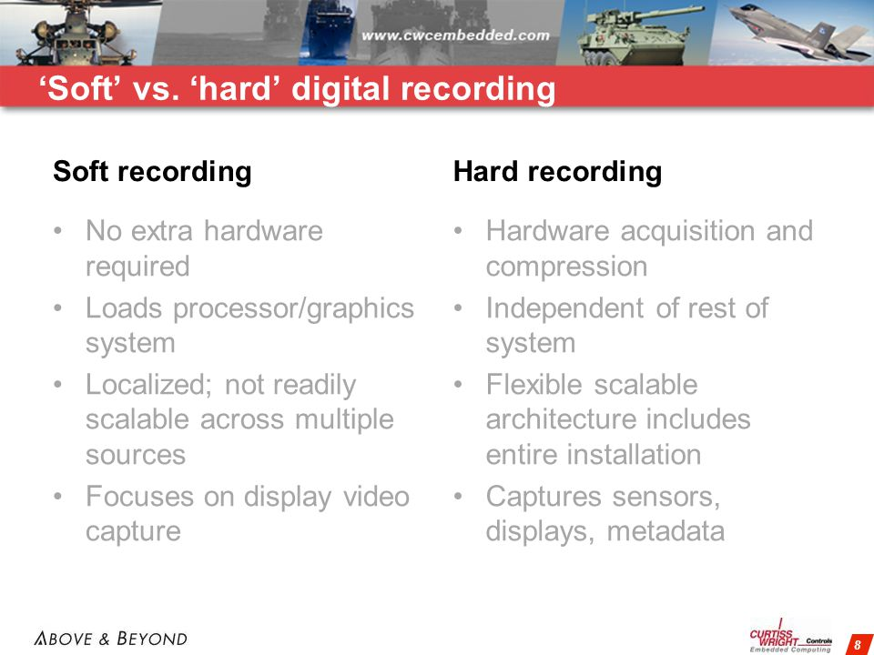 8 Soft recording No extra hardware required Loads processor/graphics system Localized; not readily scalable across multiple sources Focuses on display video capture Hard recording Hardware acquisition and compression Independent of rest of system Flexible scalable architecture includes entire installation Captures sensors, displays, metadata Soft vs.