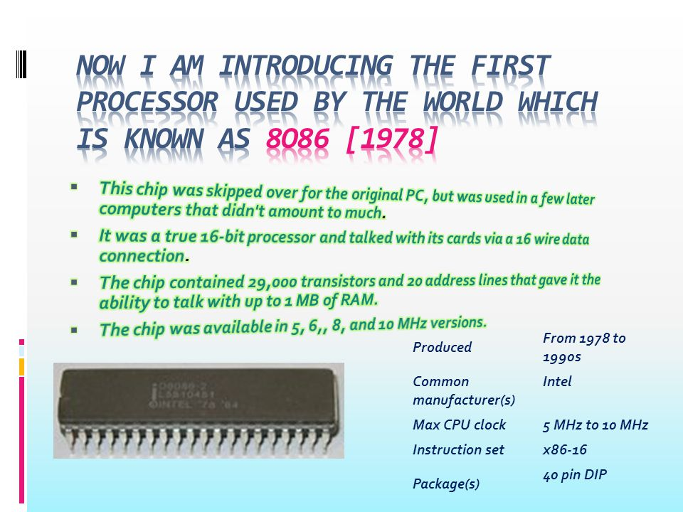 ProducedFrom 1979 to 1990s Common manufacturer(s) Intel Max CPU clock5 MHz to 10 MHz Instruction setx86-16 Package(s) 40 pin DIP An Intel 80186 Microprocessor Produced From 1982 to present (the CMOS version) Common manufacturer(s) Intel Max CPU clock6 MHz to 12 MHz Instruction setx86-16 Package(s)68-pin
