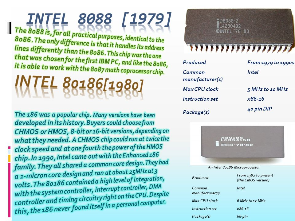 An Intel 80286 Microprocessor Produced From 1982 to early 1990s Common manufacturer(s) Intel AMD Harris Corporation Siemens AG Max CPU clock6 MHz to 25 MHz Min feature size1.5 µm Instruction setx86-16 (with MMU) Package(s)PLCC 68-pin Intel 80386 DX, 33 MHz, foreground Produced From 1986 to September 2007 Common manufacturer(s) Intel AMD IBM Max CPU clock12 MHz to 40 MHz Min feature size1.5 µm to 1 µm Instruction setx86 (IA-32) Socket(s) 132-pin PGA, 132-pin PQFP; SX variant: 100- pin PQFP Intel 80386 DX, 33 MHz, foreground