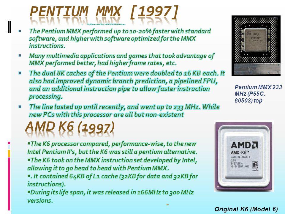 Pentium MMX 233 MHz (P55C, 80503) top Original K6 (Model 6)
