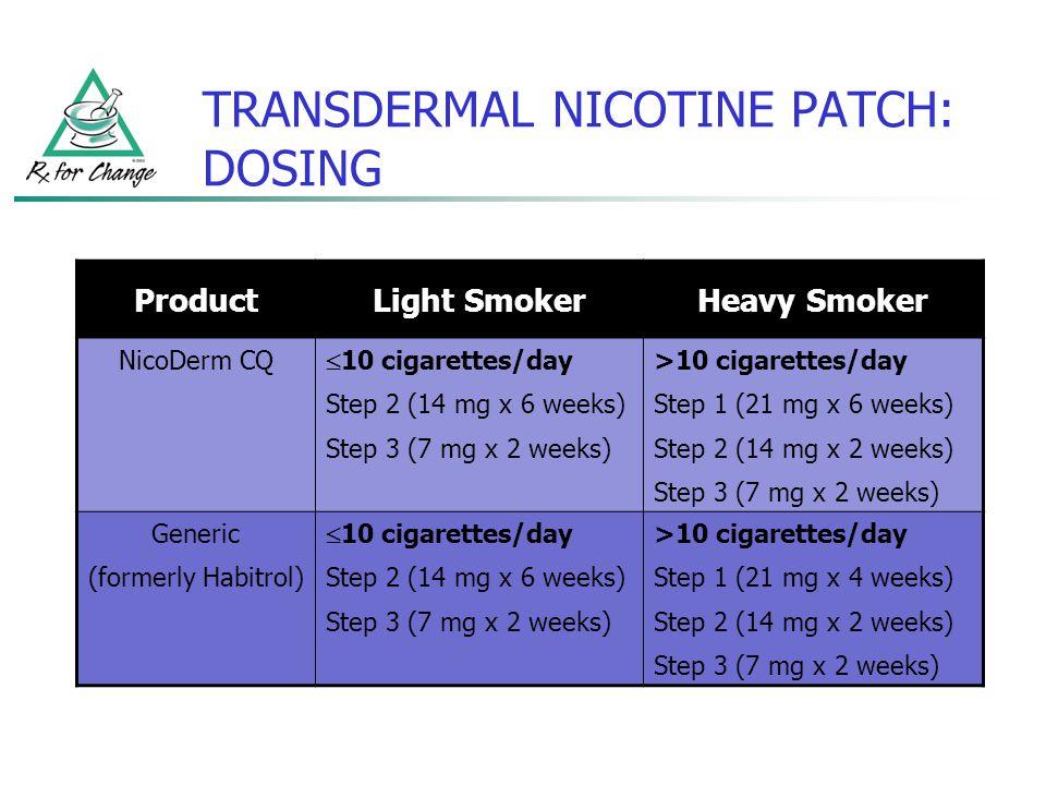 TRANSDERMAL NICOTINE PATCH: DOSING ProductLight SmokerHeavy Smoker NicoDerm CQ 10 cigarettes/day Step 2 (14 mg x 6 weeks) Step 3 (7 mg x 2 weeks) >10