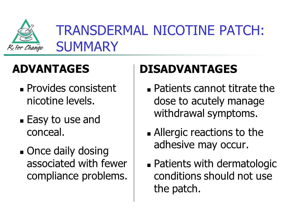 TRANSDERMAL NICOTINE PATCH: SUMMARY DISADVANTAGES Patients cannot titrate the dose to acutely manage withdrawal symptoms. Allergic reactions to the ad