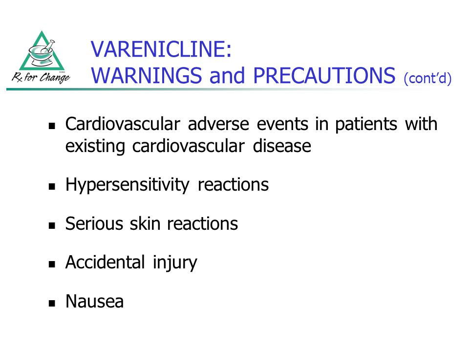 VARENICLINE: WARNINGS and PRECAUTIONS (contd) Cardiovascular adverse events in patients with existing cardiovascular disease Hypersensitivity reaction