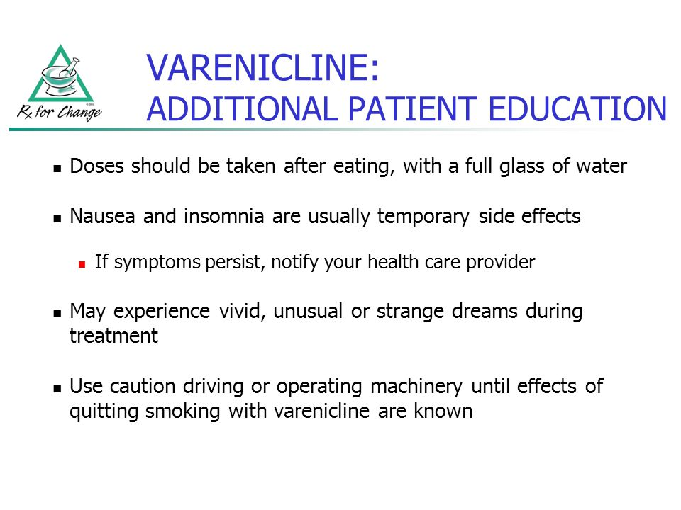 VARENICLINE: ADDITIONAL PATIENT EDUCATION Doses should be taken after eating, with a full glass of water Nausea and insomnia are usually temporary sid