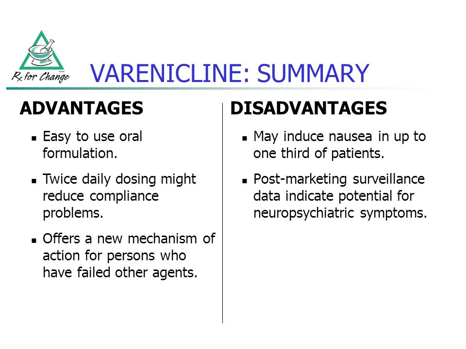 VARENICLINE: SUMMARY DISADVANTAGES May induce nausea in up to one third of patients. Post-marketing surveillance data indicate potential for neuropsyc