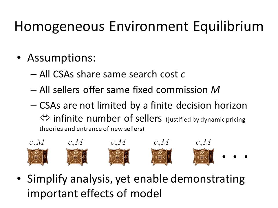 Homogeneous Environment Equilibrium Assumptions: – All CSAs share same search cost c – All sellers offer same fixed commission M – CSAs are not limited by a finite decision horizon infinite number of sellers (justified by dynamic pricing theories and entrance of new sellers) Simplify analysis, yet enable demonstrating important effects of model...