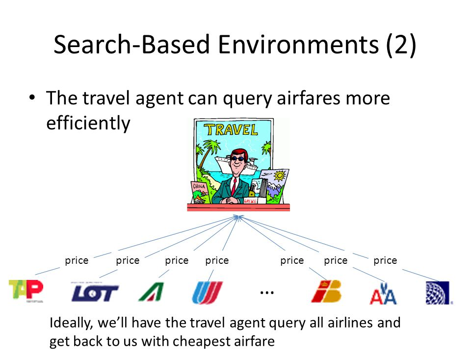 Search-Based Environments (2) The travel agent can query airfares more efficiently … Ideally, well have the travel agent query all airlines and get back to us with cheapest airfare price