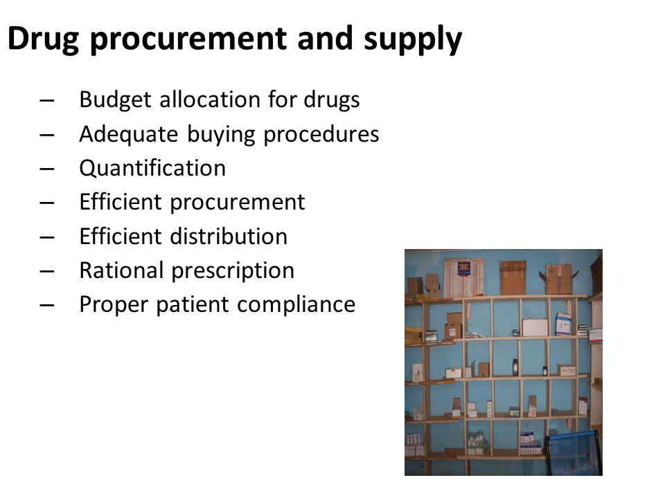– Budget allocation for drugs – Adequate buying procedures – Quantification – Efficient procurement – Efficient distribution – Rational prescription – Proper patient compliance Drug procurement and supply