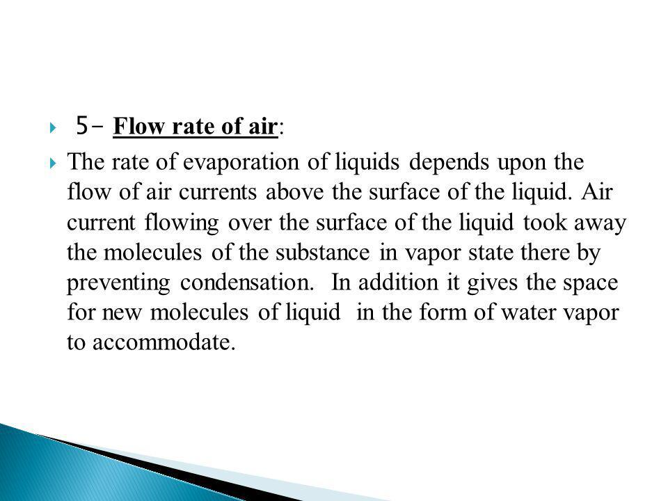 5- Flow rate of air: The rate of evaporation of liquids depends upon the flow of air currents above the surface of the liquid. Air current flowing ove