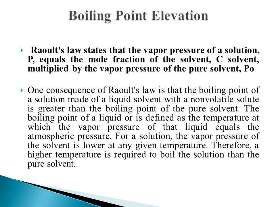 Raoult's law states that the vapor pressure of a solution, P, equals the mole fraction of the solvent, C solvent, multiplied by the vapor pressure of