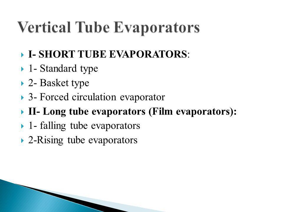 I- SHORT TUBE EVAPORATORS: 1- Standard type 2- Basket type 3- Forced circulation evaporator II- Long tube evaporators (Film evaporators): 1- falling tube evaporators 2-Rising tube evaporators