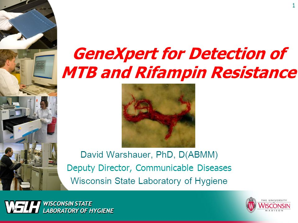 WISCONSIN STATE LABORATORY OF HYGIENE GeneXpert for Detection of MTB and Rifampin Resistance David Warshauer, PhD, D(ABMM) Deputy Director, Communicab