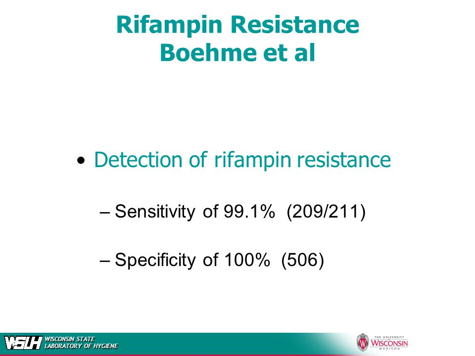 WISCONSIN STATE LABORATORY OF HYGIENE Rifampin Resistance Boehme et al Detection of rifampin resistance –Sensitivity of 99.1% (209/211) –Specificity o