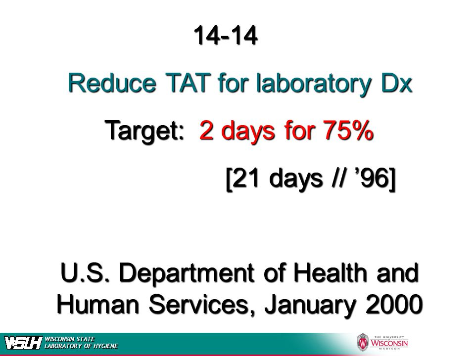 14-14 Reduce TAT for laboratory Dx Target:2 days for 75% [21 days // 96] U.S. Department of Health and Human Services, January 2000