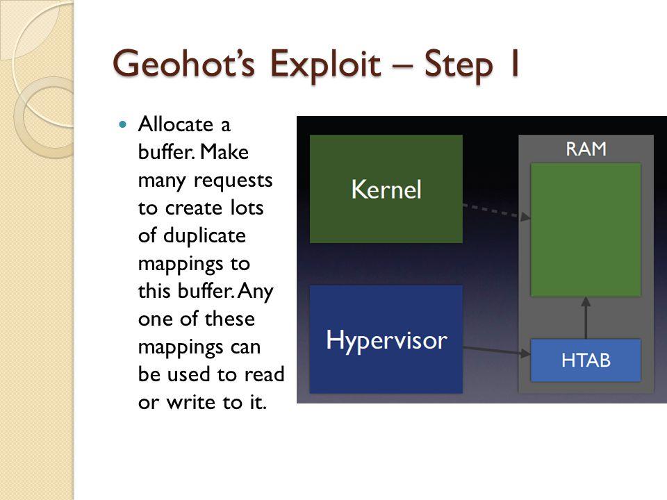 Geohots Exploit – Step 1 Allocate a buffer.