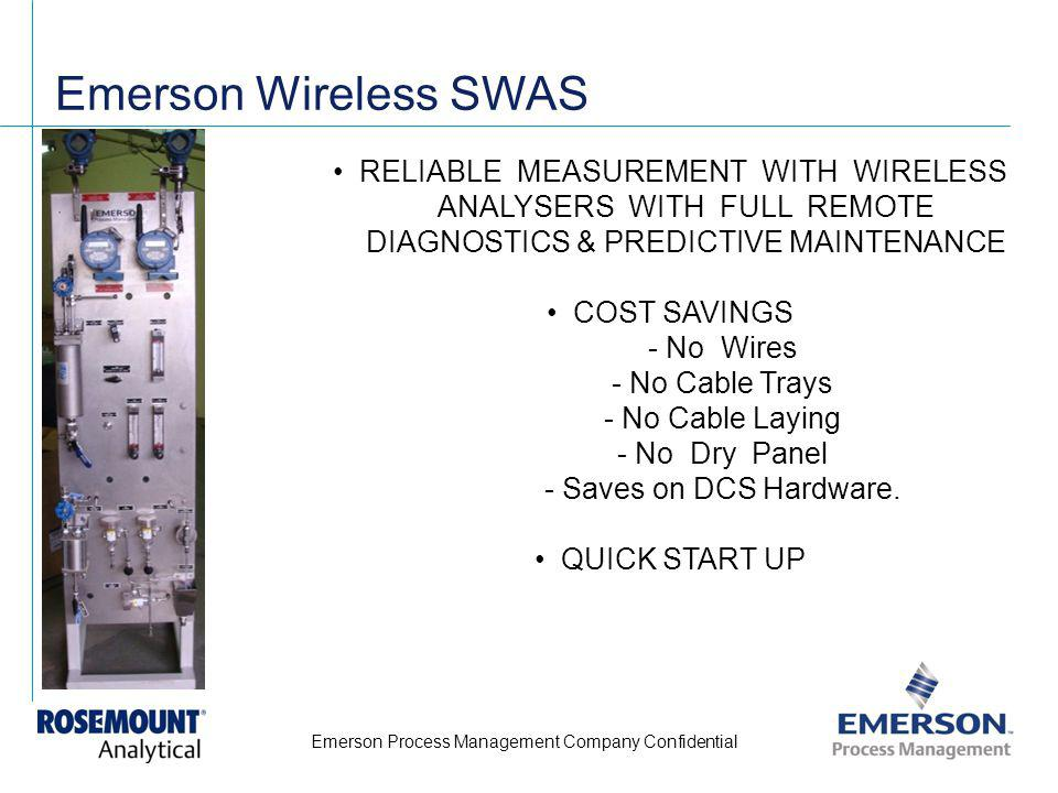 Emerson Process Management Company Confidential Emerson Wireless SWAS RELIABLE MEASUREMENT WITH WIRELESS ANALYSERS WITH FULL REMOTE DIAGNOSTICS & PRED