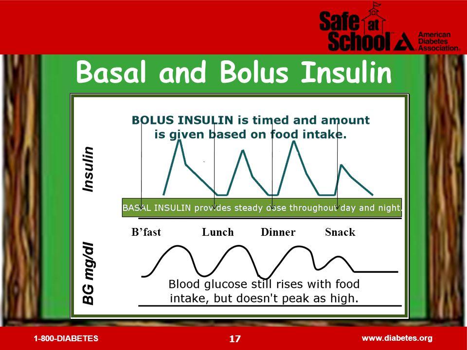 1-800-DIABETES www.diabetes.org 17 Bfast Lunch Dinner Snack Basal and Bolus Insulin