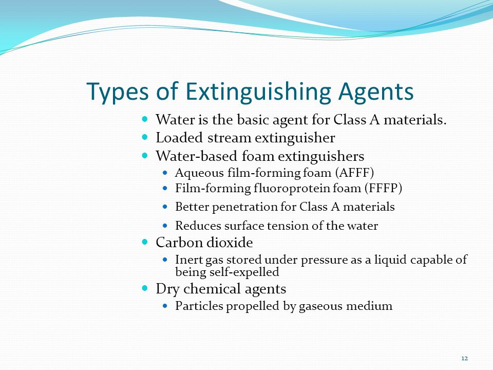 Types of Extinguishing Agents Water is the basic agent for Class A materials. Loaded stream extinguisher Water-based foam extinguishers Aqueous film-f