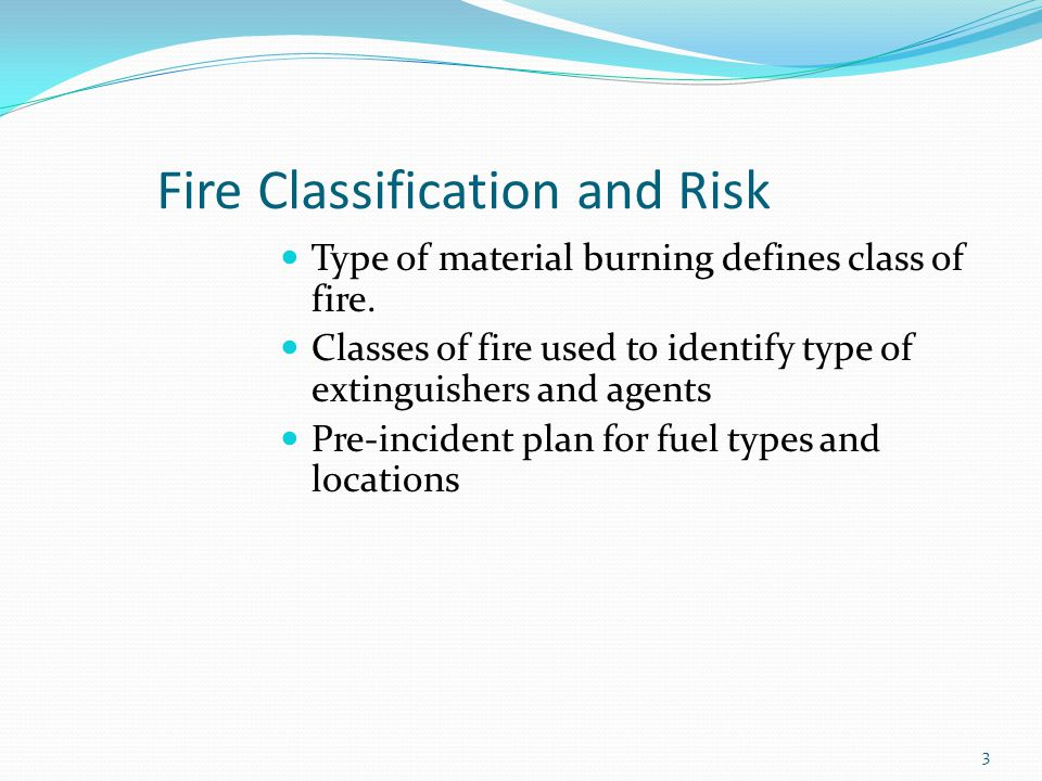 Class A Involves ordinary combustibles Can be extinguished with: Water Water-based agents Foam Multipurpose dry chemicals Water usually the agent used 4
