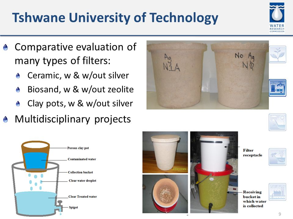 Tshwane University of Technology 9 Comparative evaluation of many types of filters: Ceramic, w & w/out silver Biosand, w & w/out zeolite Clay pots, w & w/out silver Multidisciplinary projects