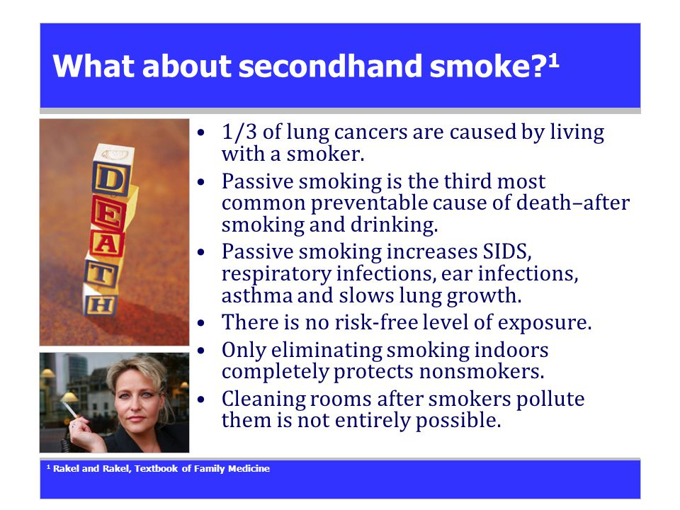 What about secondhand smoke. 1 1/3 of lung cancers are caused by living with a smoker.