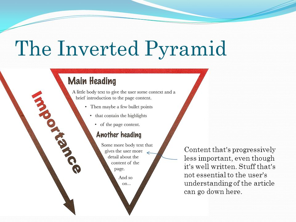 The Inverted Pyramid Content that s progressively less important, even though it s well written.