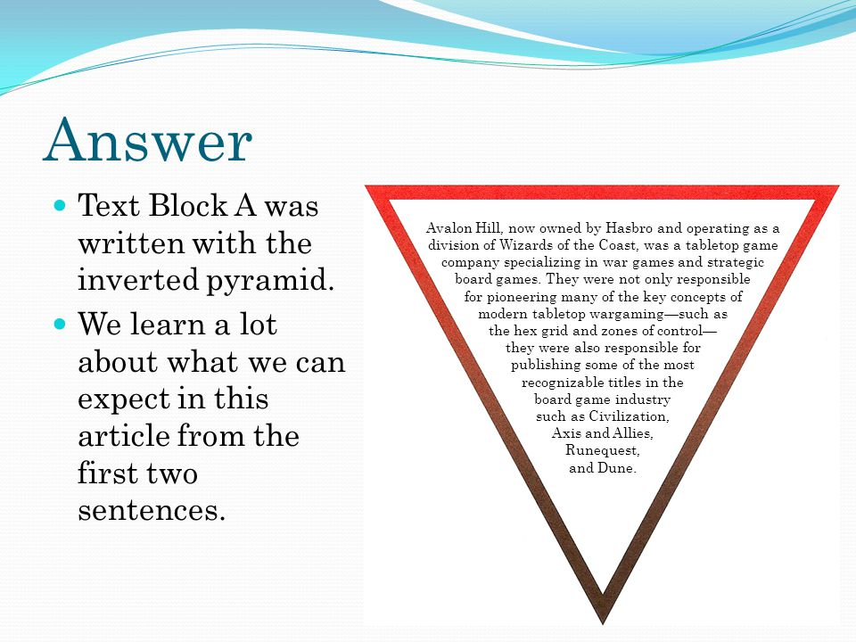 Answer Text Block A was written with the inverted pyramid.