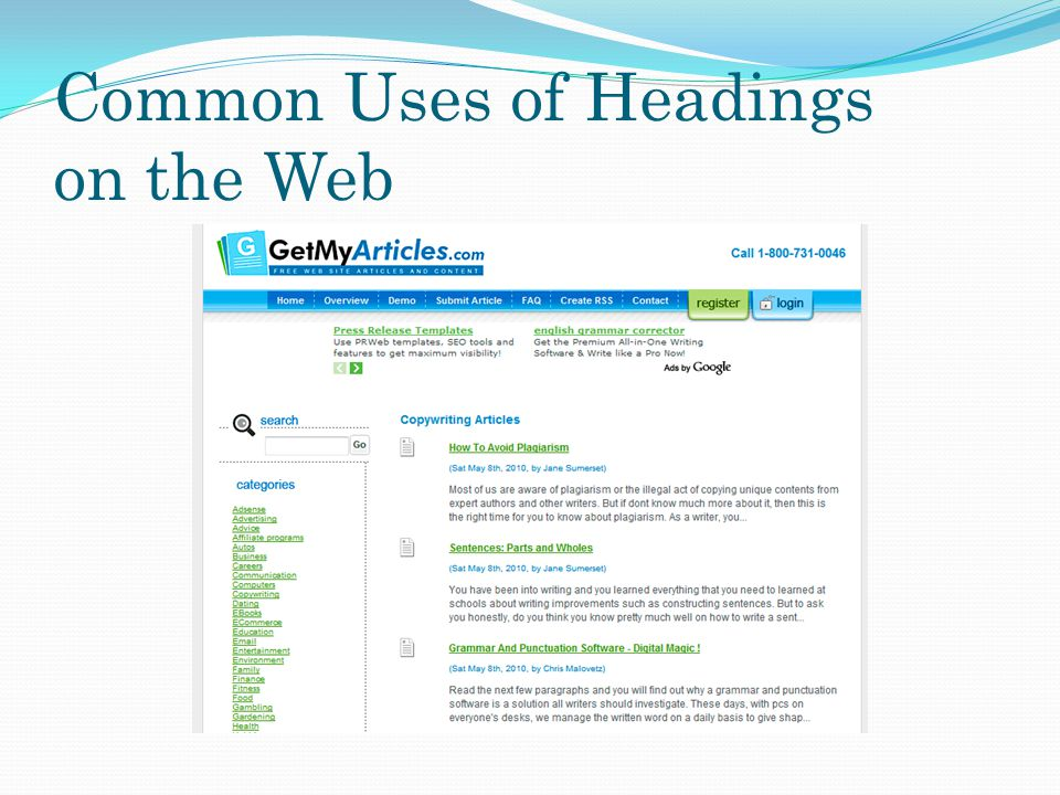 Common Uses of Headings on the Web
