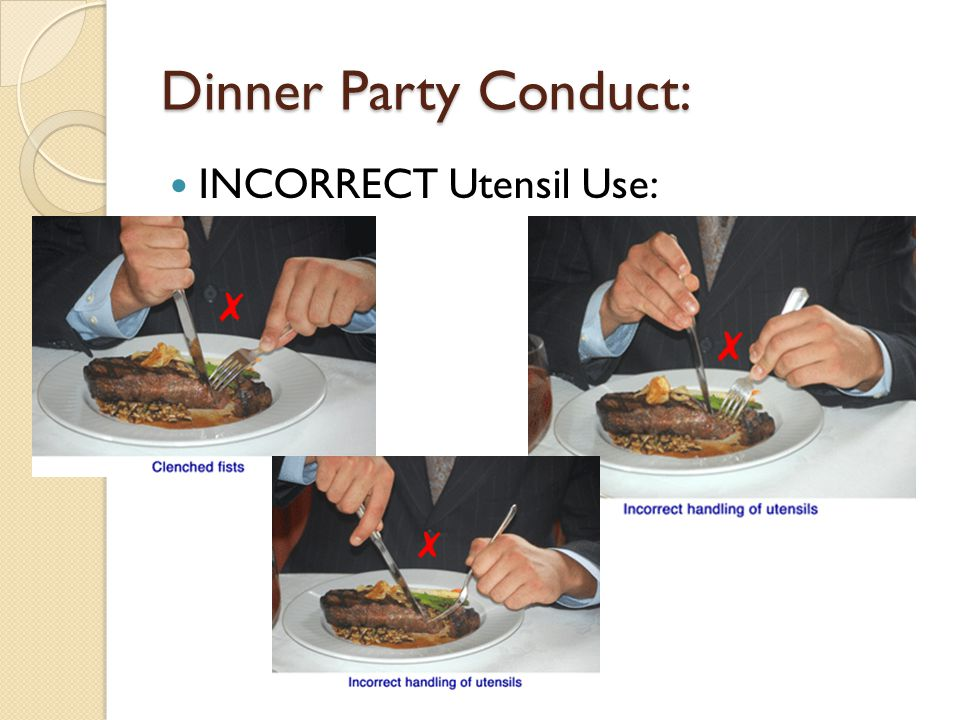 Dinner Party Conduct: INCORRECT Utensil Use: