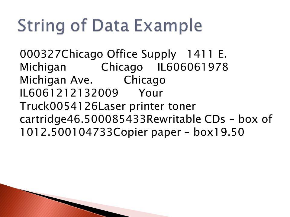 000327Chicago Office Supply 1411 E. Michigan Chicago IL606061978 Michigan Ave.