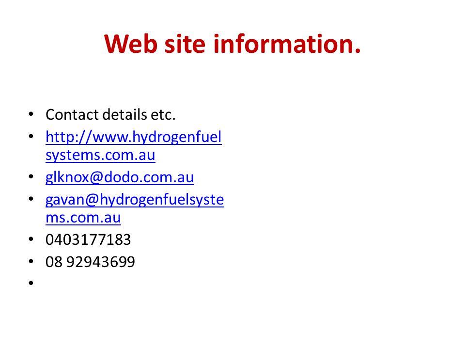 Web site information.Contact details etc.