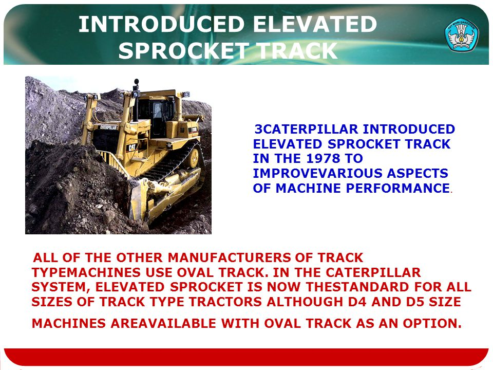 INTRODUCED ELEVATED SPROCKET TRACK 3CATERPILLAR INTRODUCED ELEVATED SPROCKET TRACK IN THE 1978 TO IMPROVEVARIOUS ASPECTS OF MACHINE PERFORMANCE. ALL O